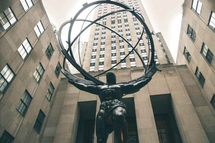 low angle photography of atlas statue