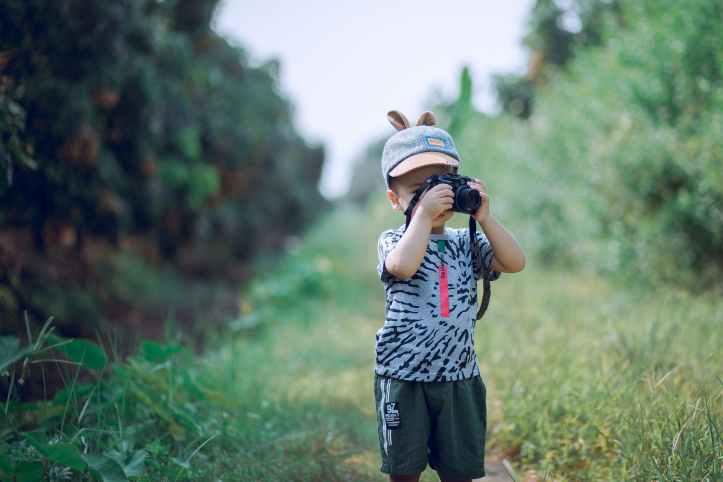 boy using camera near green leaf plants