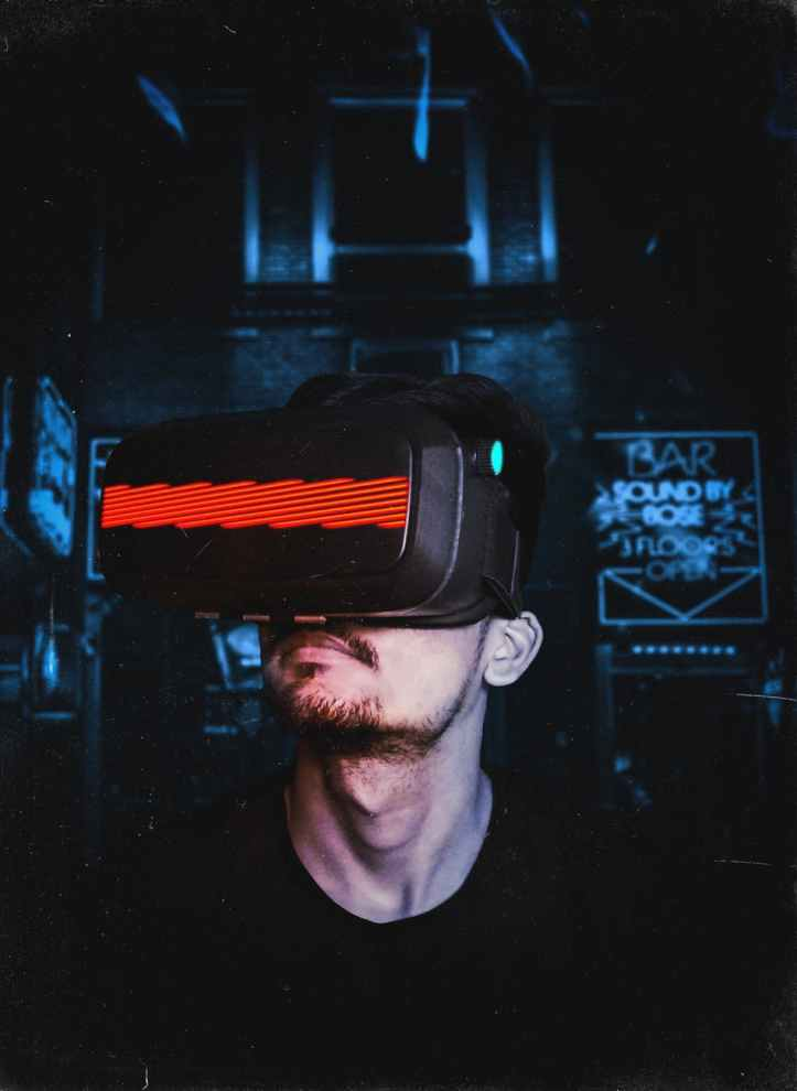 person wearing vr goggles