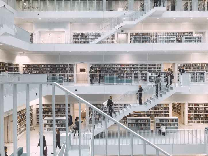 people inside a library